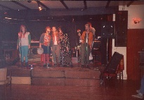 (L to R) Sarah, Laura, Julie, Sian?? and Jane (and a certain Mr Bits playing guitar).